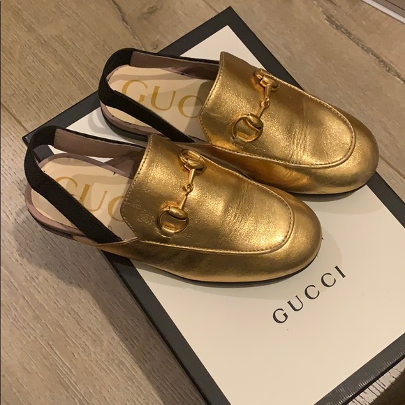 Authentic Gucci Kids Leather Slippers